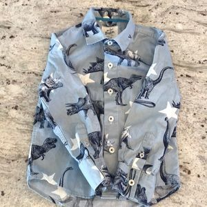 Mini Boden Boys long sleeve Dinosaur Shirt  3T-4T